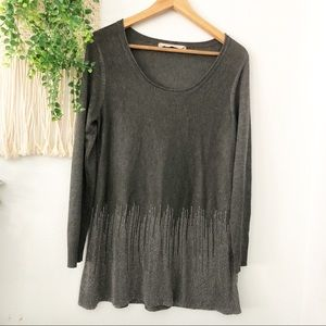 SOFT SURROUNDINGS Silver Embellished Sweater M/L